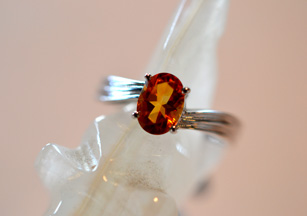 Oval Citrine and White Gold Ring